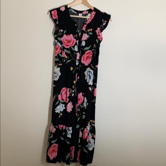 Old Navy Dresses & Skirts - NEW OLD NAVI FLORAL CAP SLEEVE DRESS BLACK XS